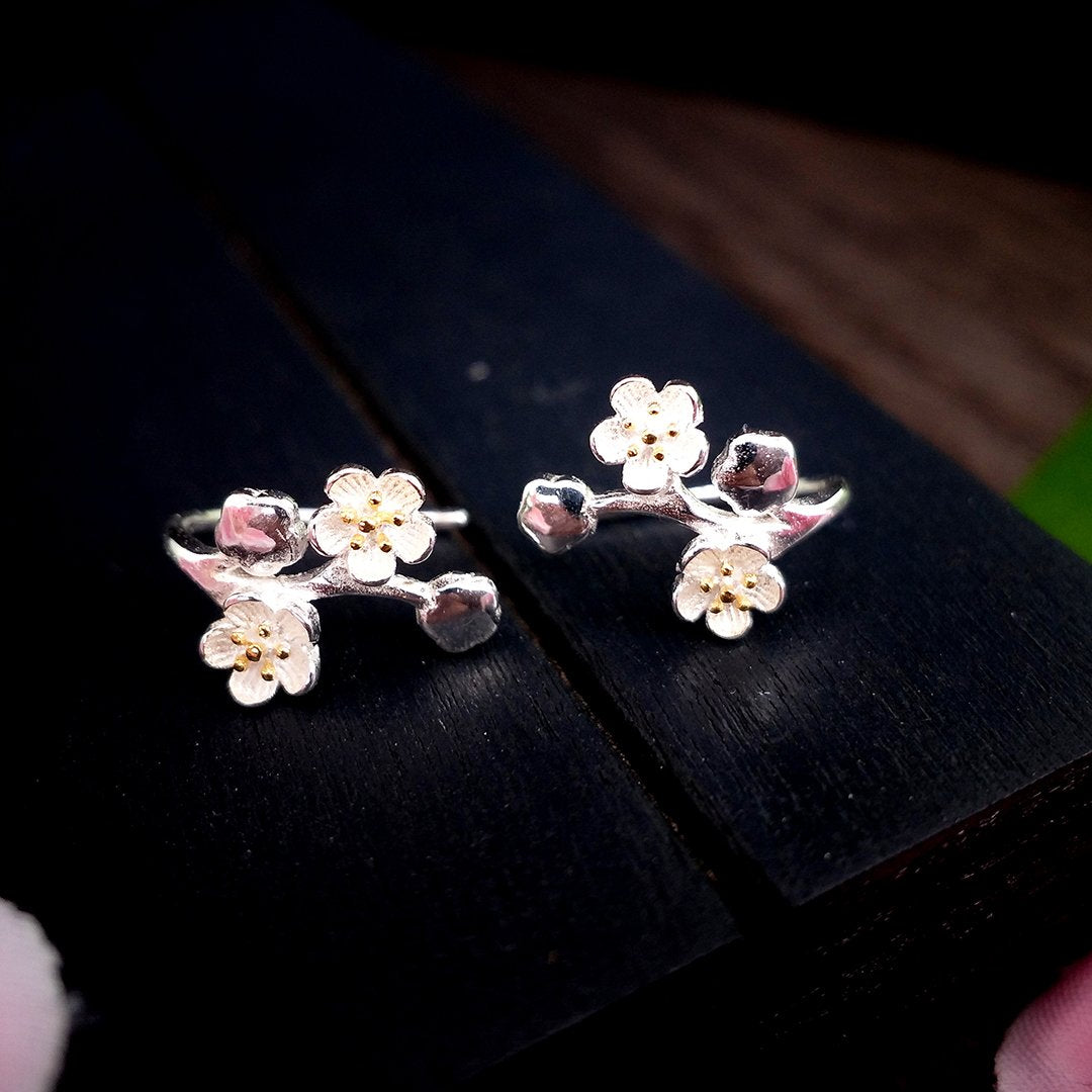Pretty Plum Flower Earrings