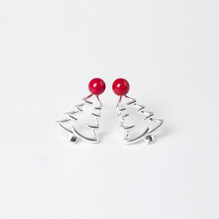 Christmas Tree Silver Earrings