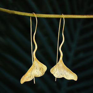 Vintage Ginkgo Leaf Drop Earrings