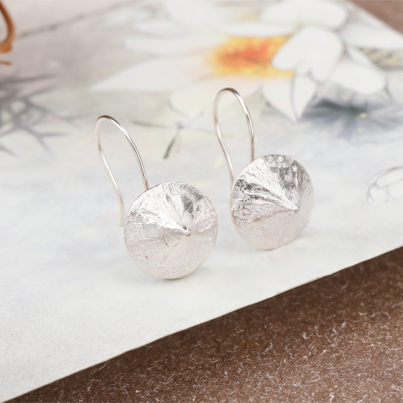 Creative Rain Hat Silver Drop Earrings