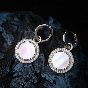 Delicate Shell Stone Silver Earrings
