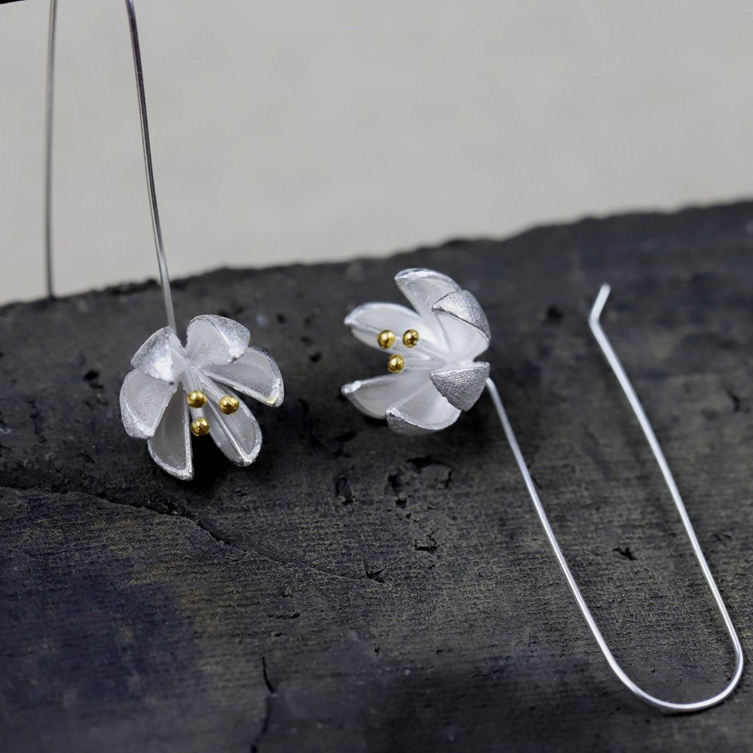 Vintage Blooming Flower Drop Earrings