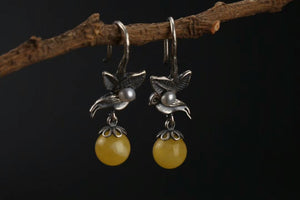Classic Bird Pearl Beeswax Earrings