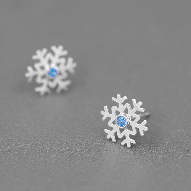 Dancing Snowflake Sterling Silver Stud Earrings