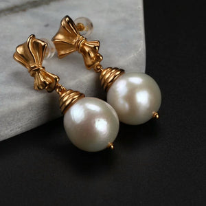 Delicate Handmade Bowknot Pearl Earrings