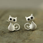 S925 Sterling Silver Cute Cat Stud Earrings