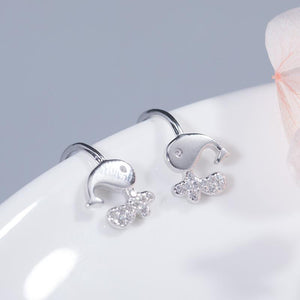 Sweet Whale Clip Earrings Without Piercing