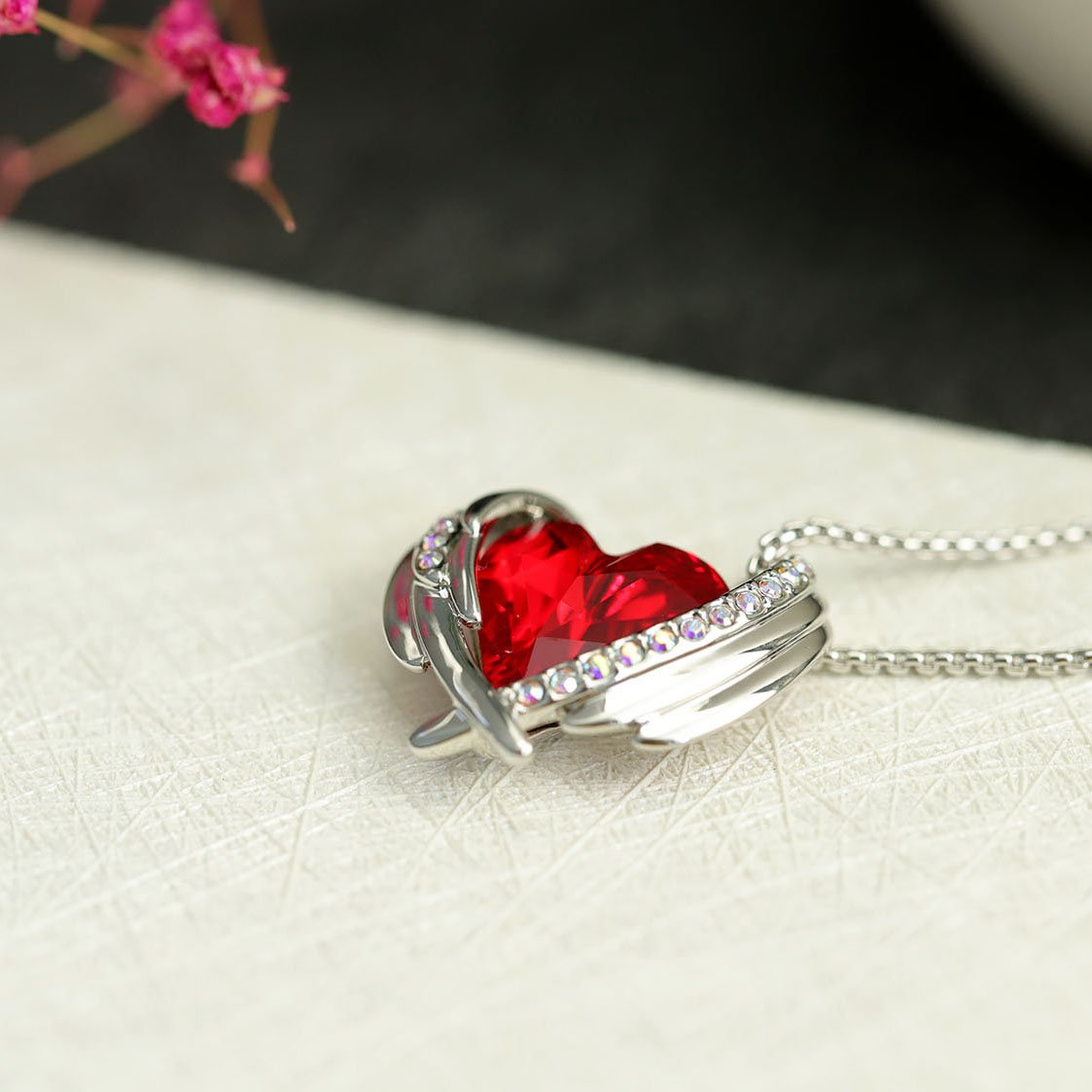 Heart of Angel Crystal Necklace