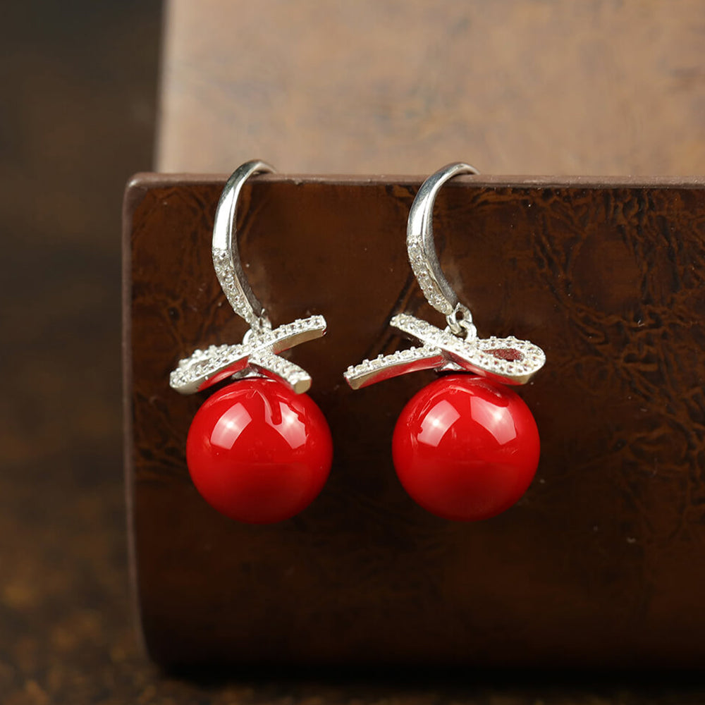 Lovely Bow Pearl Drop Earrings