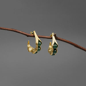 Silver Peapod Jade Earrings