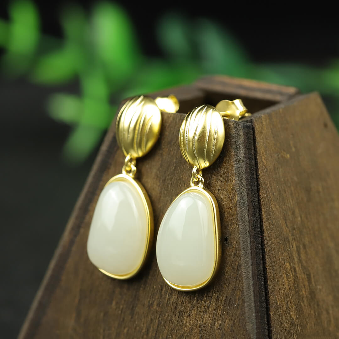 Vintage Natural White Jade Silver Earrings