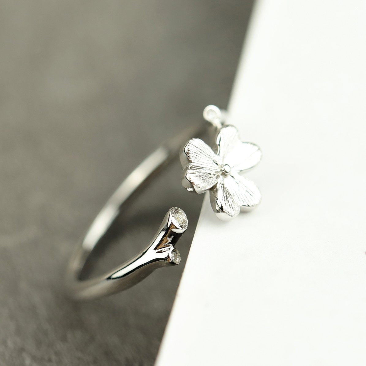 Chic Clover Silver Open Ring