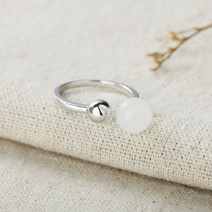 Natural White Jade Open Ring