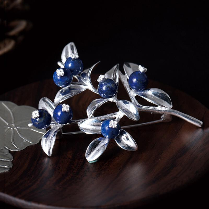 Vintage Blueberry Silver Brooch