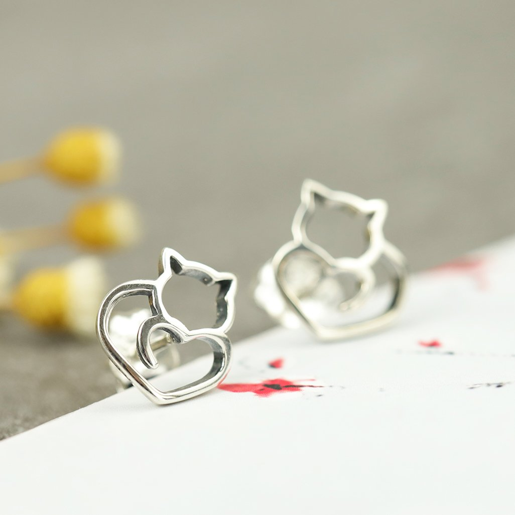 Lovely Cat Silver Stud Earrings