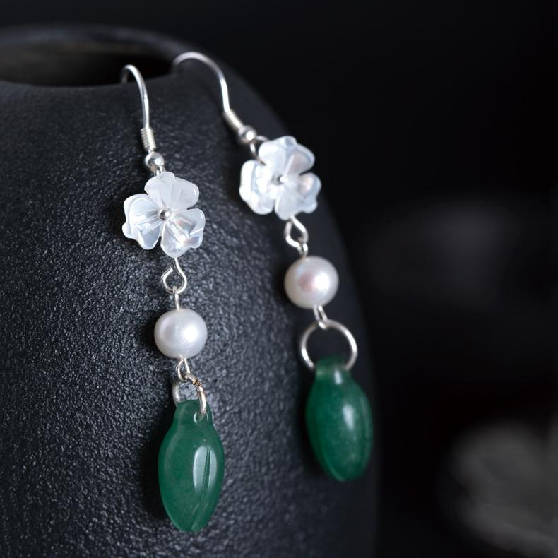 Delicate Jade Flower Drop Earrings