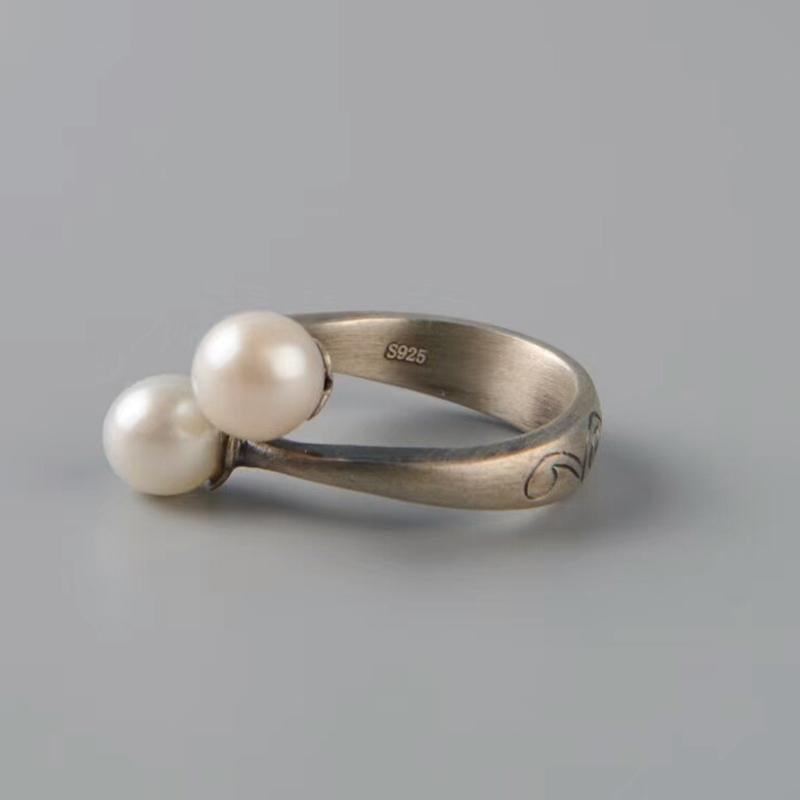 Vintage Handmade Pearls Open Ring