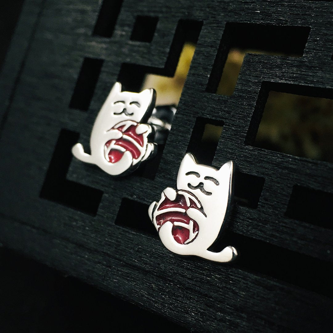 Playful Cat Silver Stud Earrings