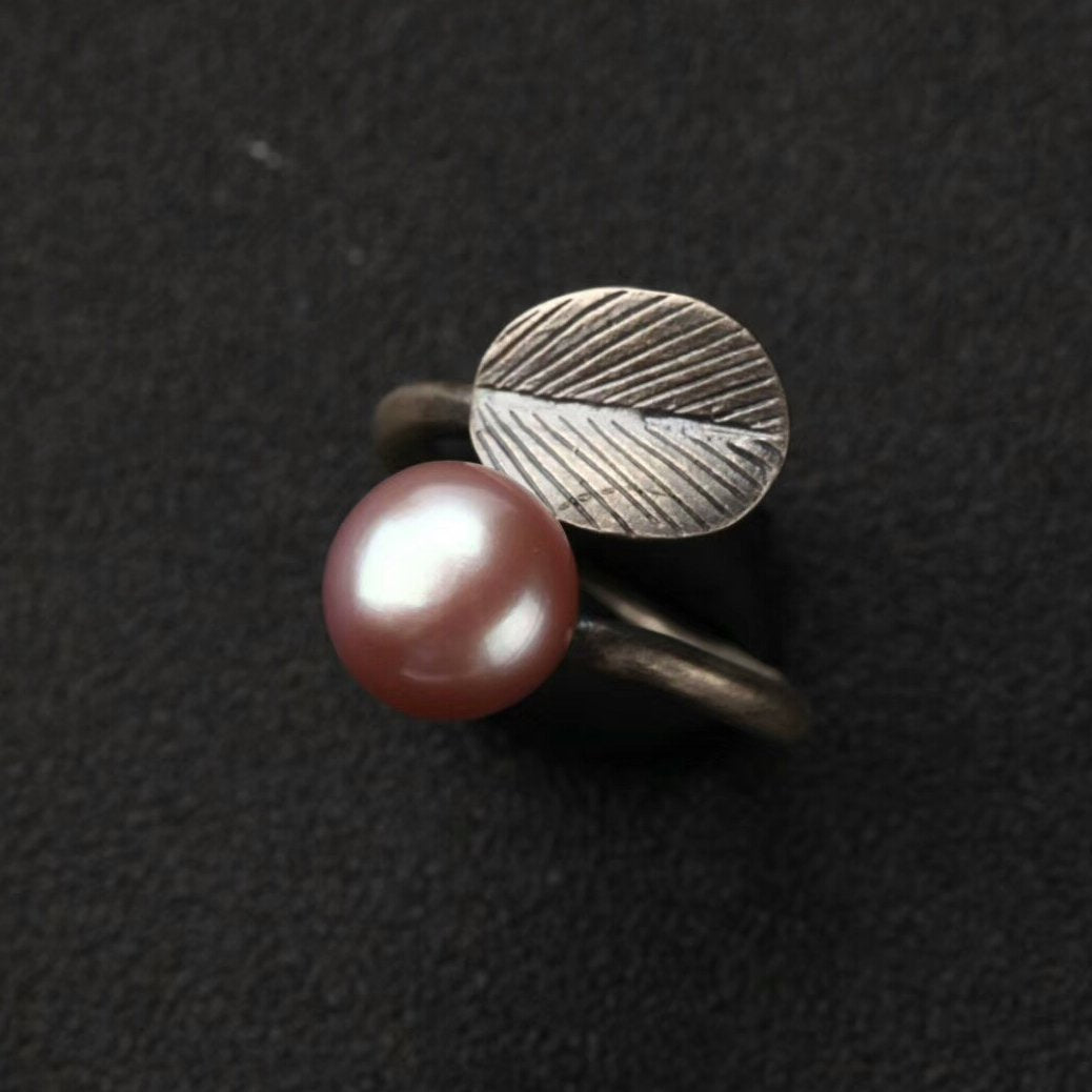 Vintage Pearl Leaf Open Ring