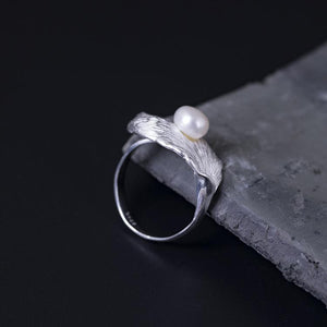Vintage Leaf Pearl Open Ring