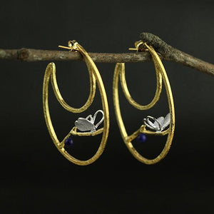Lapis Butterfly Silver Drop Earrings