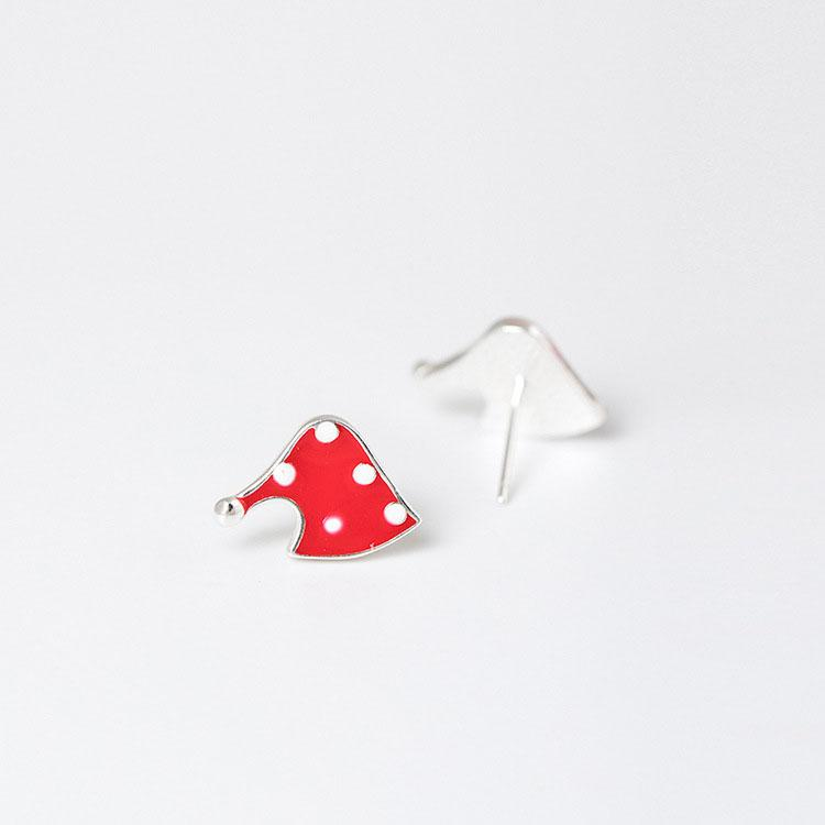 Christmas Hat Silver Earrings
