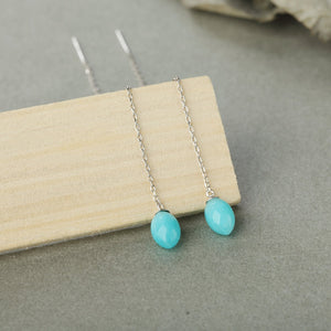 Natural Amazonite Line Style Earrings