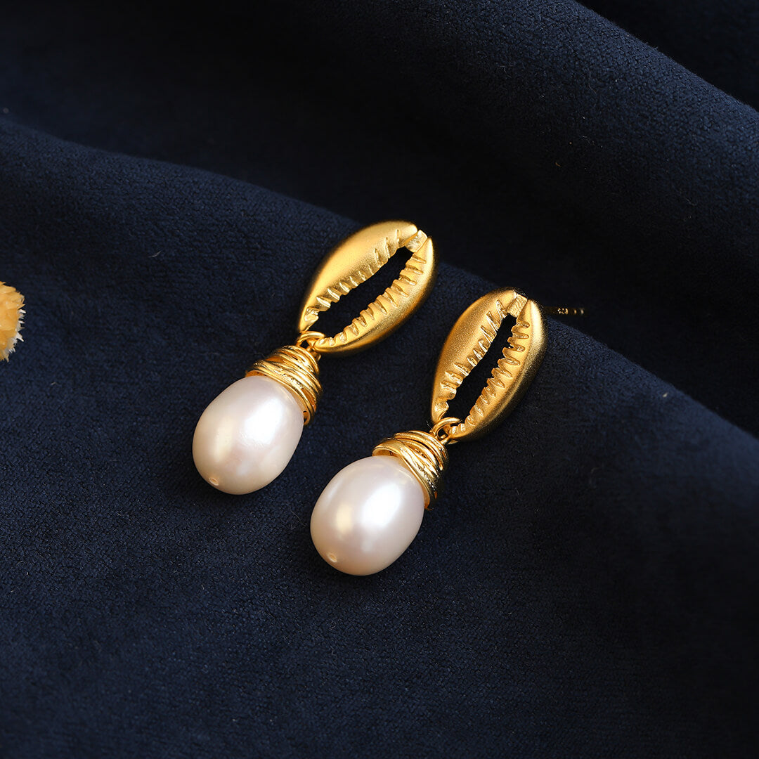 Freshwater Pearl Gold Plated Stud Earrings