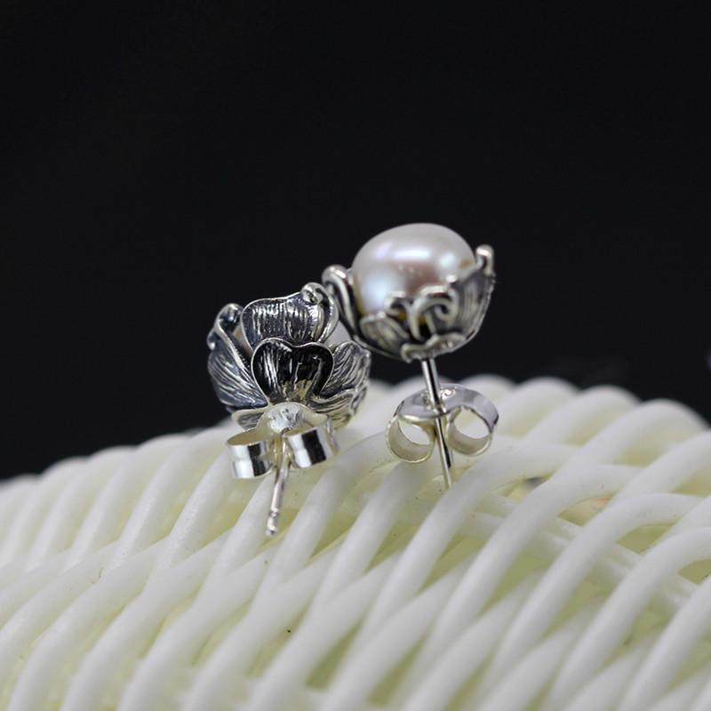 Pure Pearl Bud Silver Stud Earrings