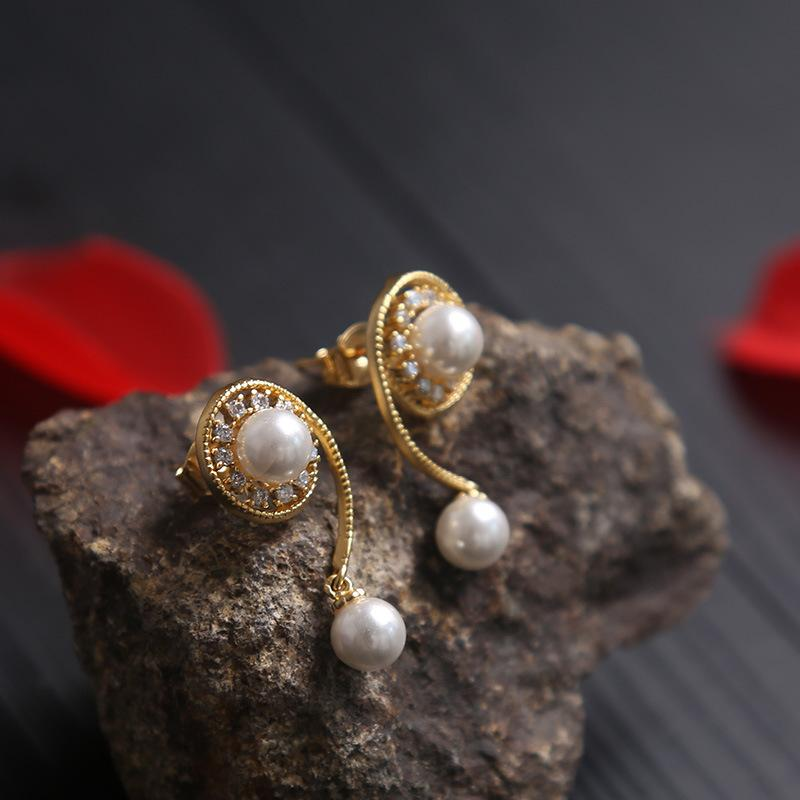 Gorgeous Golden Natural Pearl Earrings