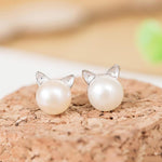 Pearl Cat Ear Silver Earrings