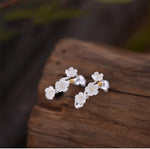 925 Sterling Silver Plum Flower Earrings