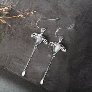 Vintage Bee Moonstone Drop Earrings