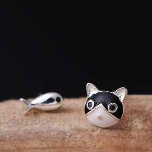 Sterling Silver Asymmetric Cat And Fish Stud Earrings