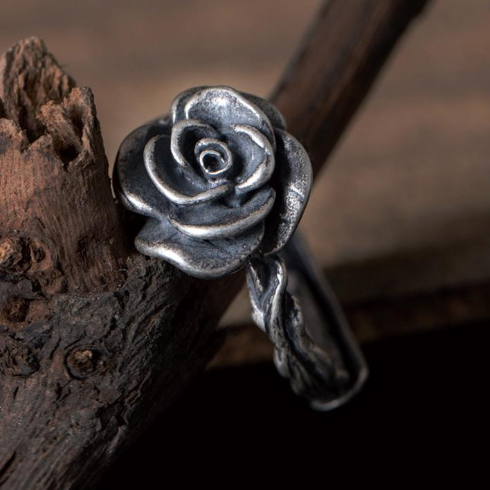 Flaring Silver Flower Open Ring