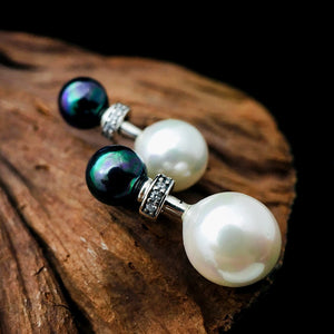 Classic Black and White Pearls Earrings