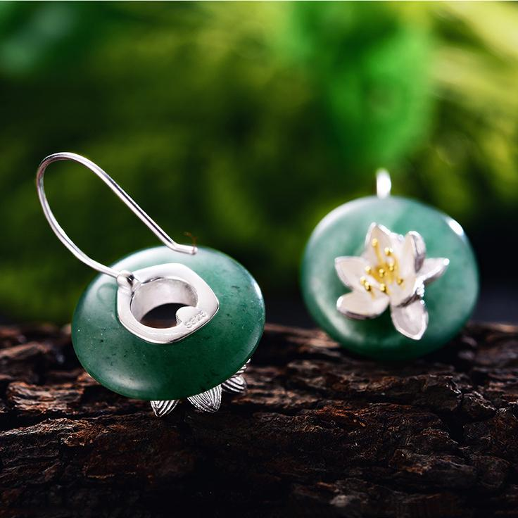Natural Stone Creative Lotus Whispers Drop Earrings