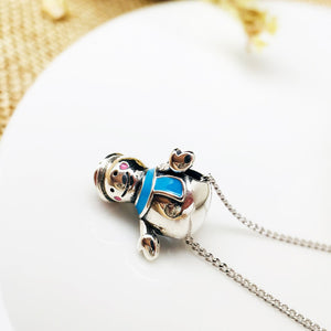 Snowman Bead Necklace with Chain
