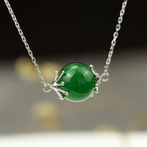 Lucky Bead Green Jade Necklace