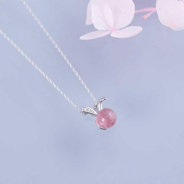 Sweet Strawberry Quartz Rabbit Necklace