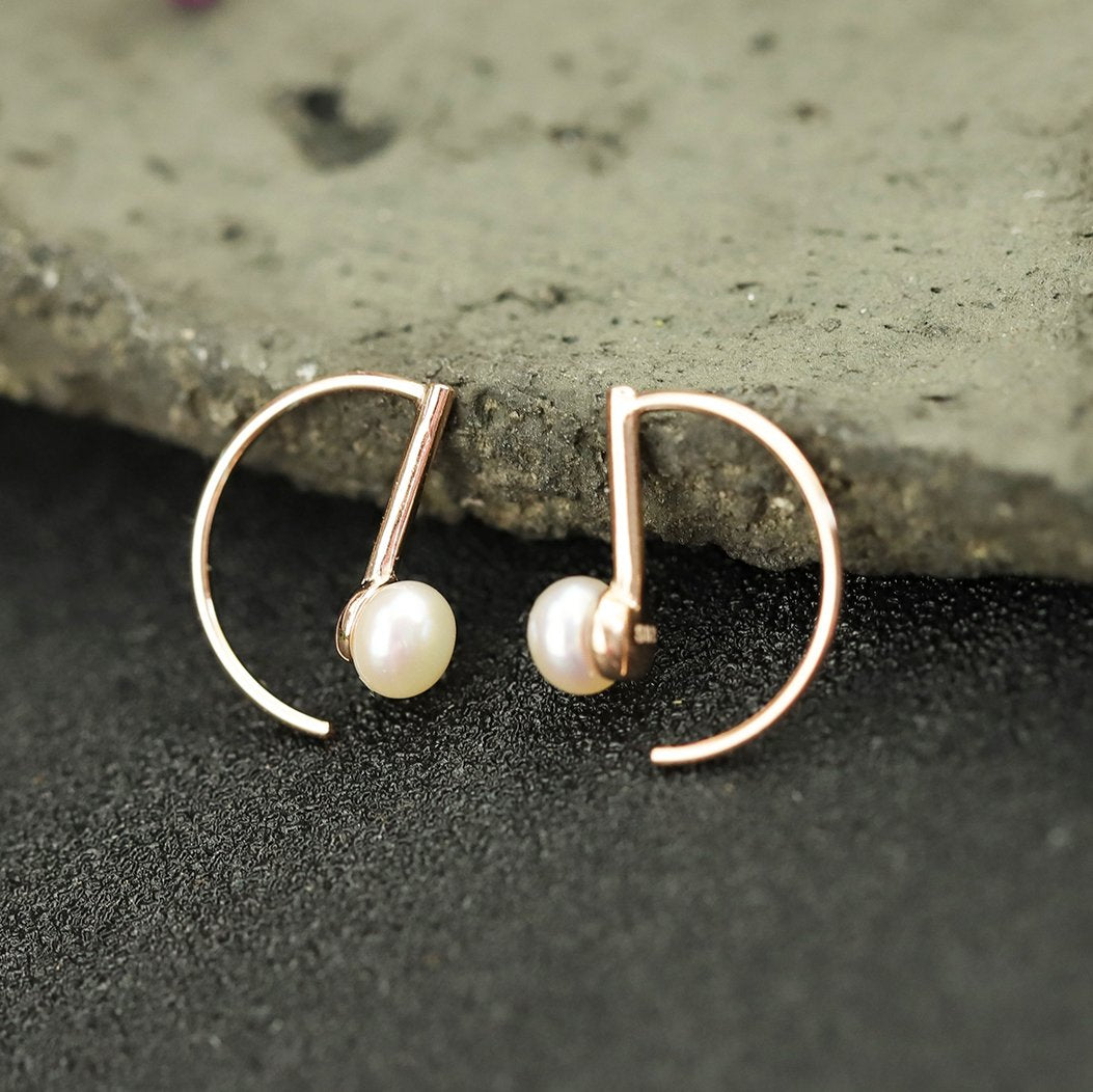 Lovely Rose Gold Drop Earrings