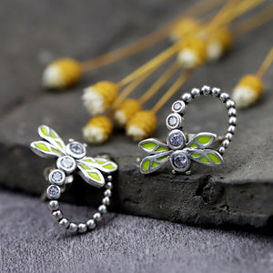Special Green Dragonfly Silver Earrings