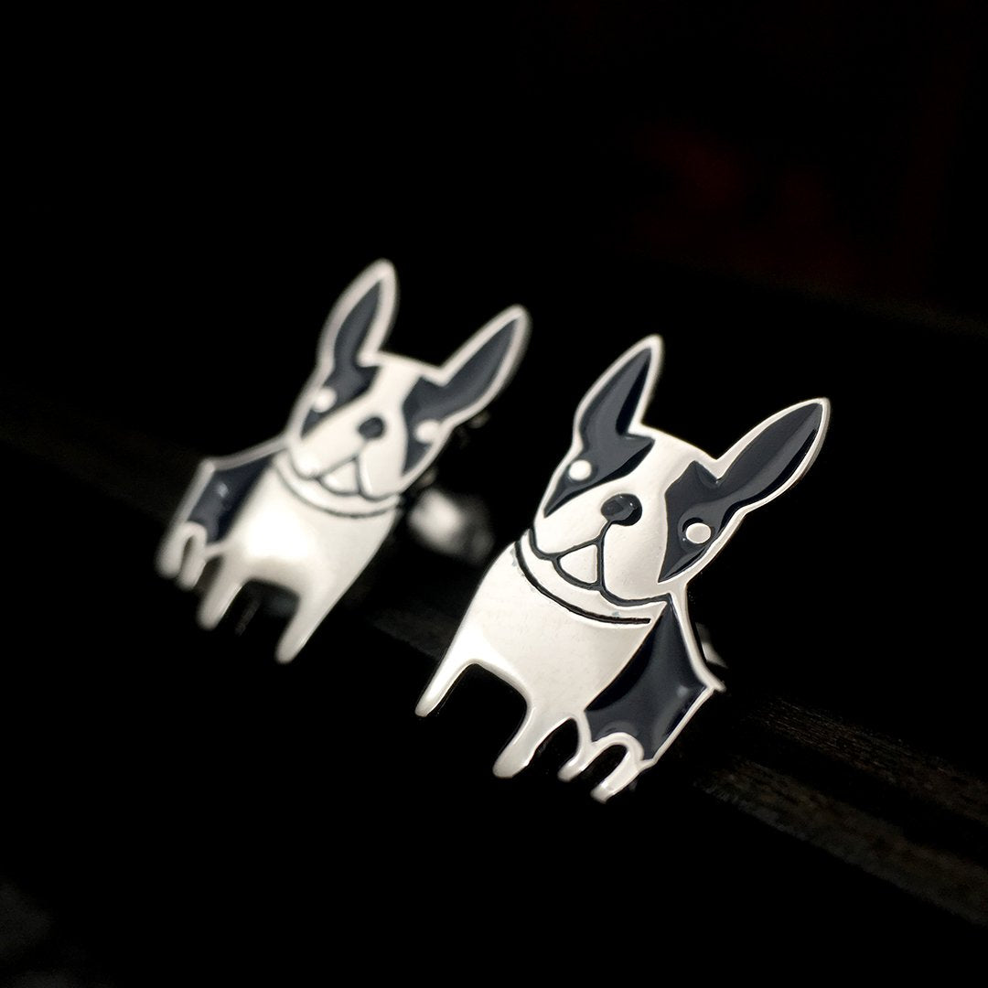 Happy Dog Silver Stud Earrings