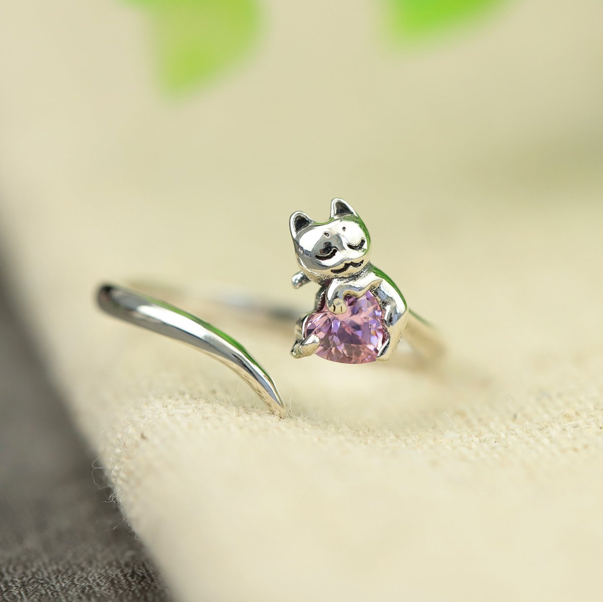 Lovely Cat Silver Open Ring