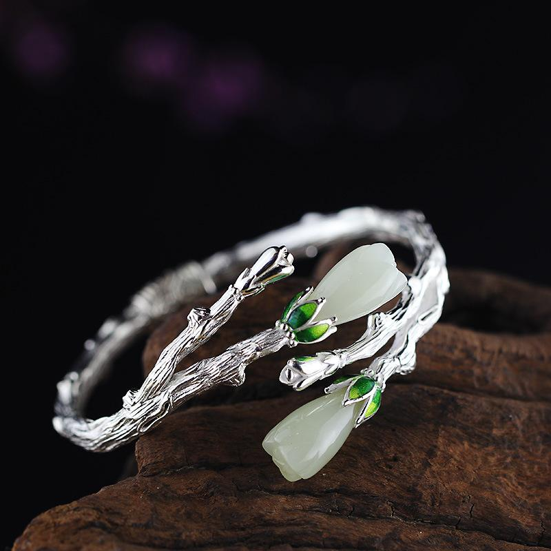 Exquisite Flower Jade Open Bangle