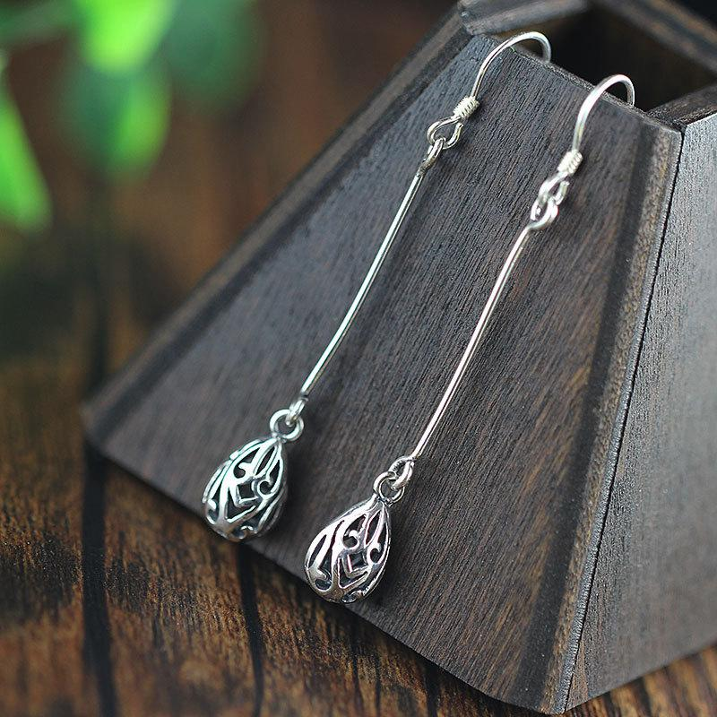 Cute Hollow Silver Drop Earrings