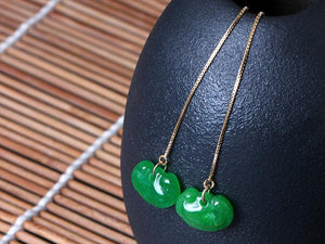 Best Wishes Green Jade Long Earrings