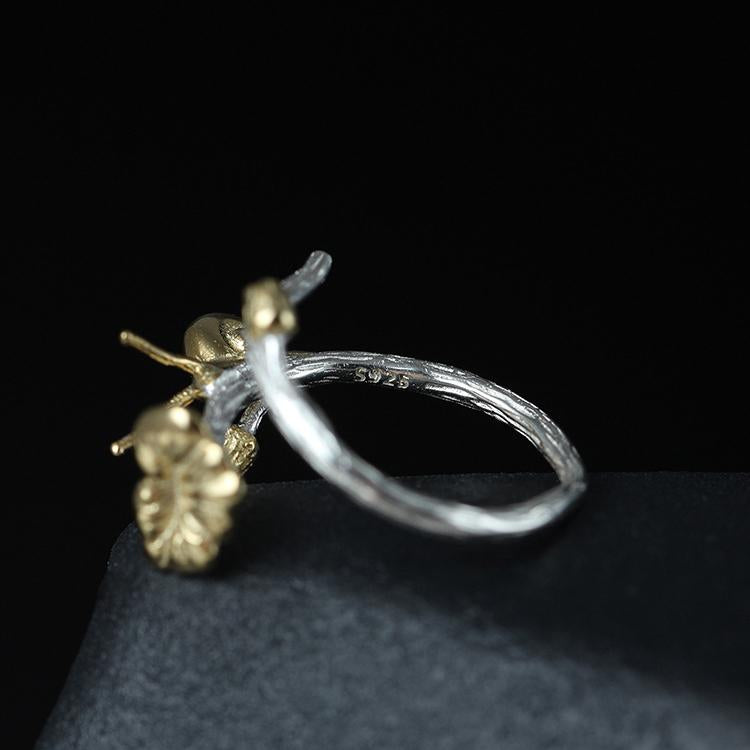 Stylish Lotus Snail Open Ring