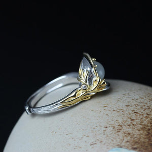 Natural Moonlight Stone Open Ring