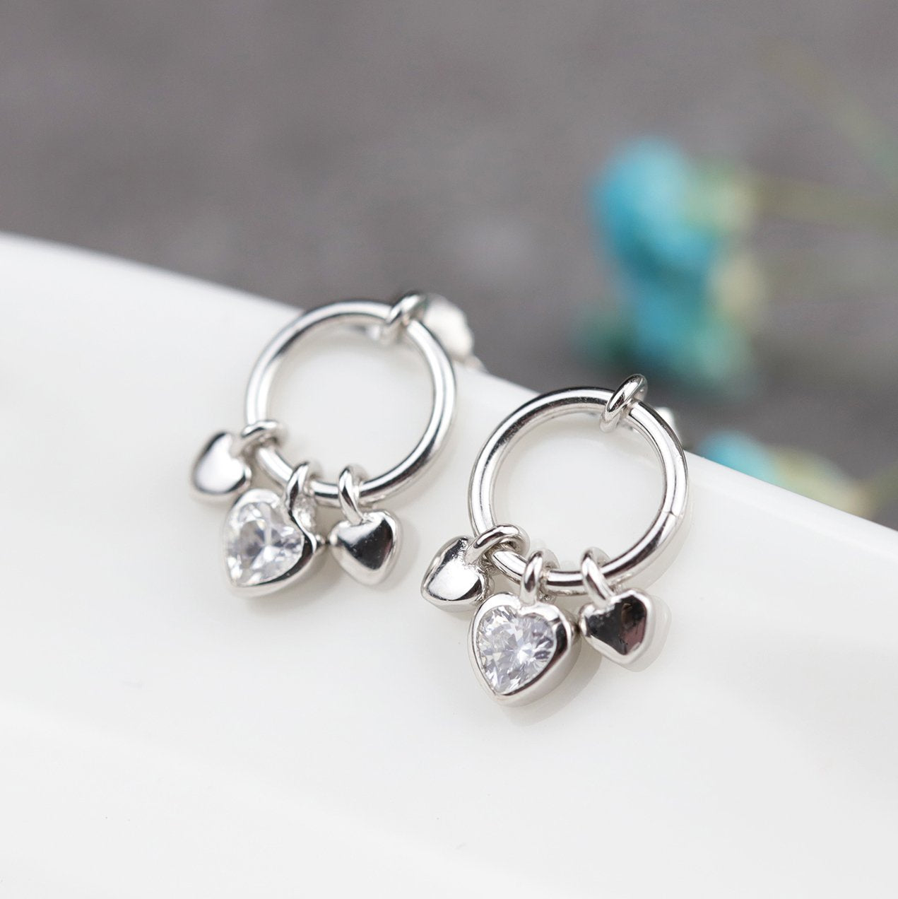 Chic Heart Silver Stud Earrings